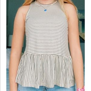 White and Black Striped Flowy Tank Top
